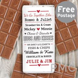 Personalised We Go Together Like.... Milk Chocolate Bar