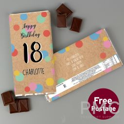 Personalised Birthday Colour Confetti Milk Chocolate Bar