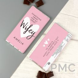 Personalised My Sweet Wifey Milk Chocolate Bar