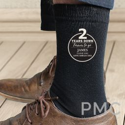 Personalised 2nd Anniversary Mens Socks