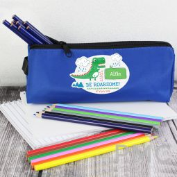 Personalised 'Be Roarsome' Dinosaur Blue Pencil Case