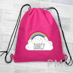 Personalised Rainbow Pink Swim & Kit Bag