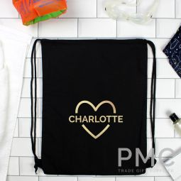 Personalised Gold Heart Swim & Kit Bag