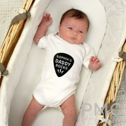 Personalised Daddy Rocks 0-3 Months Baby Vest