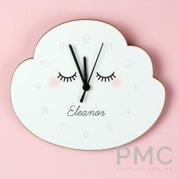 Personalised Eyelash Cloud Shape Wooden Clock