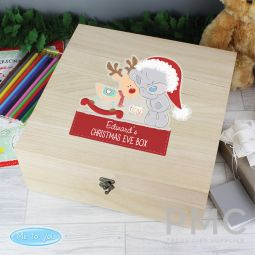 Personalised Colourful Tiny Tatty Teddy Large Wooden Christmas Eve Box