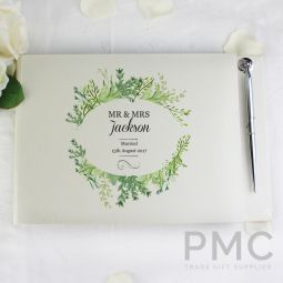 Personalised Fresh Botanical Guest Book & Pen