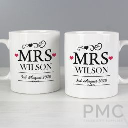 Personalised Mrs & Mrs Mug Set
