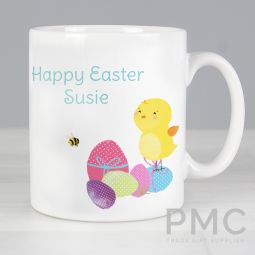 Personalised Easter Meadow Chick Mug