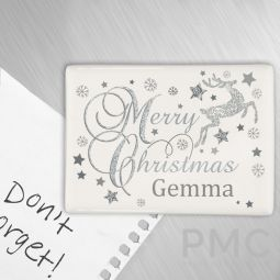 Personalised Silver Reindeer Fridge Magnet