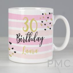 Personalised Birthday Gold and Pink Stripe Mug