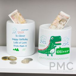 Personalised Dinosaur Ceramic Money Box