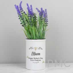 Personalised Floral Bee Straight Sided Flower Pot