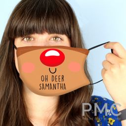 Personalised Reindeer Face Covering