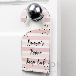 Personalised Gold and Pink Stripe Door Hanger