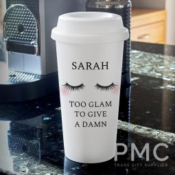 Personalised Eyelashes Double Walled Travel Mug