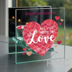 Personalised 'All You Need is Love' Confetti Hearts Glass Tea Light Candle Holder
