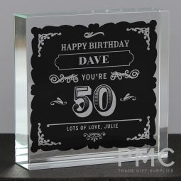 Personalised Birthday Vintage Typography Large Crystal Token