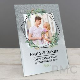 Personalised Geo Leaves 4x4 Glitter Glass Photo Frame