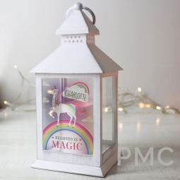 Personalised Unicorn Frost White Lantern
