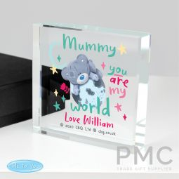 Personalised You Are My World Me To You Large Crystal Token