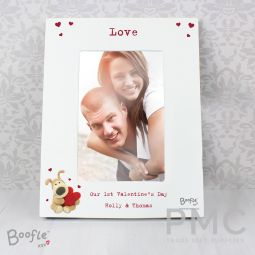 Personalised Boofle Shared Heart White 6x4 Photo Frame