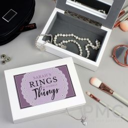 Personalised Lilac Lace 'Rings & Sparkly Things' Jewellery Box