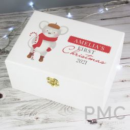 Personalised '1st Christmas' Mouse White Wooden Keepsake Box