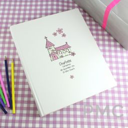 Personalised Whimsical Church Pink Traditional Album
