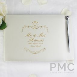 Personalised Gold Ornate Swirl Hardback Guest Book & Pen