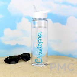 Personalised Blue Name Island Water Bottle